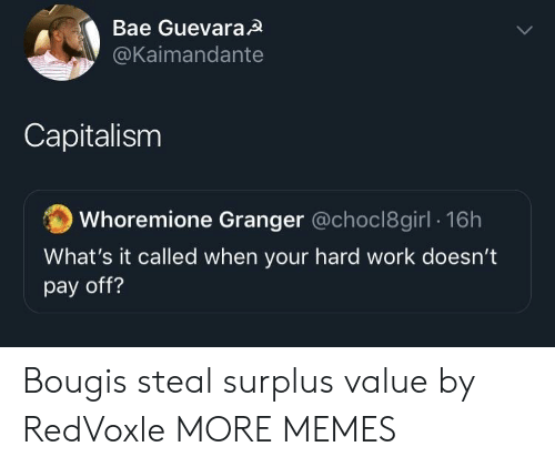 Bae, Dank, and Memes: Bae GuevaraA  @Kaimandante  Capitalism  Whoremione Granger @choc18girl 16h  What's it called when your hard work doesn't  pay off? Bougis steal surplus value by RedVoxle MORE MEMES