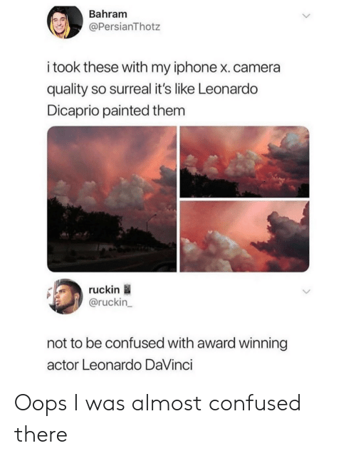 Confused, Iphone, and Leonardo DiCaprio: Bahram  @PersianThotz  i took these with my iphone x.camera  quality so surreal it's like Leonardo  Dicaprio painted them  ruckin  @ruckin_  not to be confused with award winning  actor Leonardo DaVinci Oops I was almost confused there