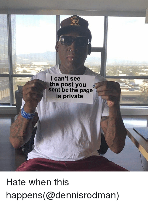 Dank Memes, Page, and Private: BALBOA  l can't see  the post you  sent bc the page  is private Hate when this happens(@dennisrodman)