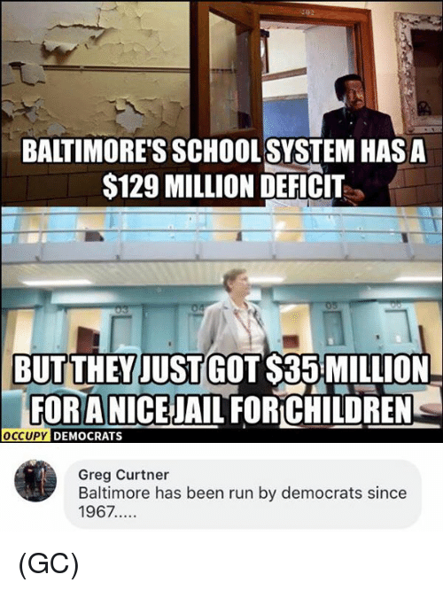 Memes, Run, and School: BALTIMORE'S SCHOOL SYSTEM HAS A  S129 MILLION DEFICIT  BUTTHEY JUST GOT $35:MILLION  FORANICEJAIL FORCHILDREN  FOR A  OCCUPY  DEMOCRATS  Greg Curtner  Baltimore has been run by democrats since  1967.... (GC)