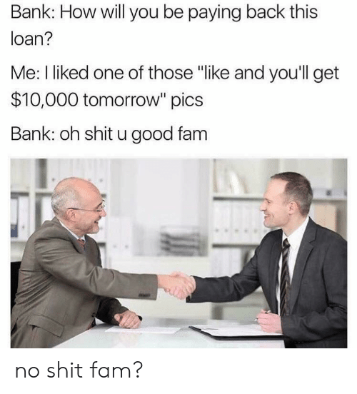 """loan: Bank: How will you be paying back this  loan?  Me: I liked one of those """"like and you'll get  $10,000 tomorrow"""" pics  Bank: oh shit u good fam no shit fam?"""