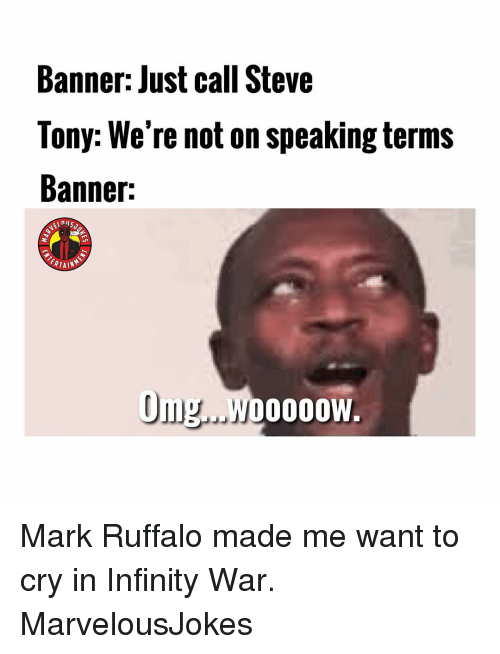 Memes, Mark Ruffalo, and Infinity: Banner: Just call Steve  Tony: We're not on speaking terms  Banner:  Om.WoOOOW Mark Ruffalo made me want to cry in Infinity War. MarvelousJokes