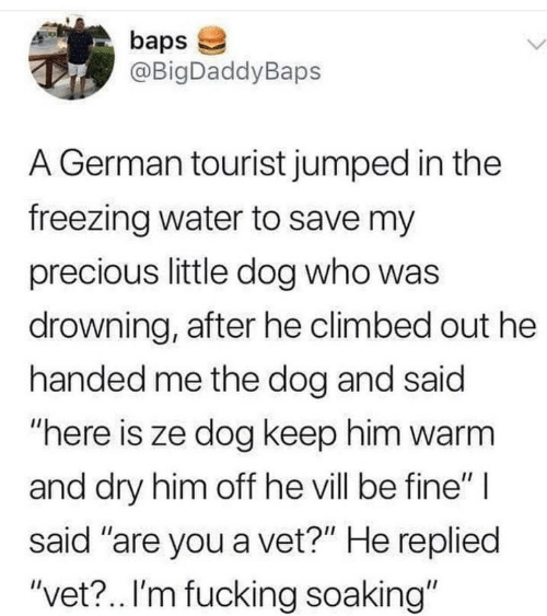 "Tourist: baps  @BigDaddyBaps  L.  A German tourist jumped in the  freezing water to save my  precious little dog who was  drowning, after he climbed out he  handed me the dog and said  ""here is ze dog keep him warm  and dry him off he vill be fine"" 