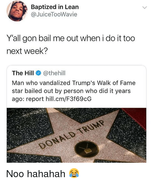 Bailed: Baptized in Lean  @JuiceTooWavie  Yall gon bail me out when i do it too  next week?  The Hill @thehill  Man who vandalized Trump's Walk of Fame  star bailed out by person who did it years  ago: report hill.cm/F3f69cG Noo hahahah 😂
