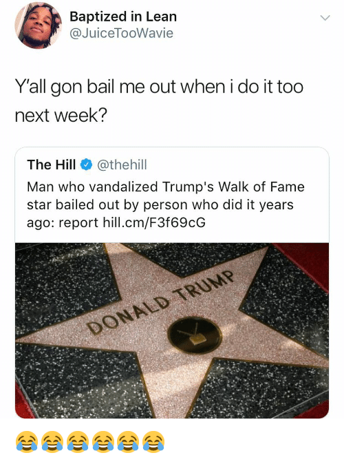 Bailed: Baptized in Lean  @JuiceTooWavie  Yall gon bail me out when i do it too  next week?  The Hill @thehill  Man who vandalized Trump's Walk of Fame  star bailed out by person who did it years  ago: report hill.cm/F3f69cG 😂😂😂😂😂😂