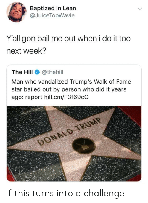 Bailed: Baptized in Lean  @JuiceTooWavie  Y'all gon bail me out when i do it too  next week?  The Hill@thehil  Man who vandalized Trump's Walk of Fame  star bailed out by person who did it years  ago: report hill.cm/F3f69cG If this turns into a challenge