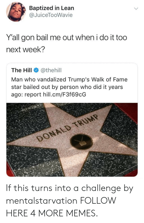 Bailed Out: Baptized in Lean  @JuiceTooWavie  Y'all gon bail me out when i do it too  next week?  The Hill@thehil  Man who vandalized Trump's Walk of Fame  star bailed out by person who did it years  ago: report hill.cm/F3f69cG If this turns into a challenge by mentalstarvation FOLLOW HERE 4 MORE MEMES.