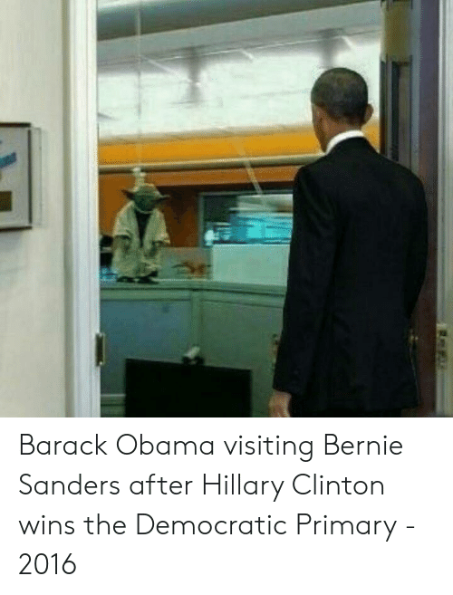 Democratic primary: Barack Obama visiting Bernie Sanders after Hillary Clinton wins the Democratic Primary - 2016