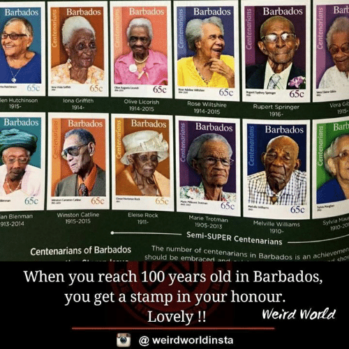 Memes, Weird, and Rose: BarbadosBarbadosBarb  Barbados  Barbados  Barbados  fi  en Hutchinson  lona Griffith  1914-  Olive Licorish  Rose Wiltshire  1914-2015  Vera Gib  915-  1915.  Rupert Springer  1916  1914-2015  Barbados  Barbadosll BarbadosB  Barbados  Barbados Barb  0  Winston Catline  1915-2015  Eleise Rock  1911-  an Blenman  913-2014  Marie Trotman  Melville Williams  Sylvia Mau  1905-2013  1910-201  1910  Semi-SUPER Centenarians  The number of centenarians in Barbados is an a  num  Centenarians of Barbados  an achie cho  should be embraced an..  .  When you reach 100 years old in Barbados,  you get a stamp in your honour.  Lovely !!  Weird World  @ weirdworldinsta