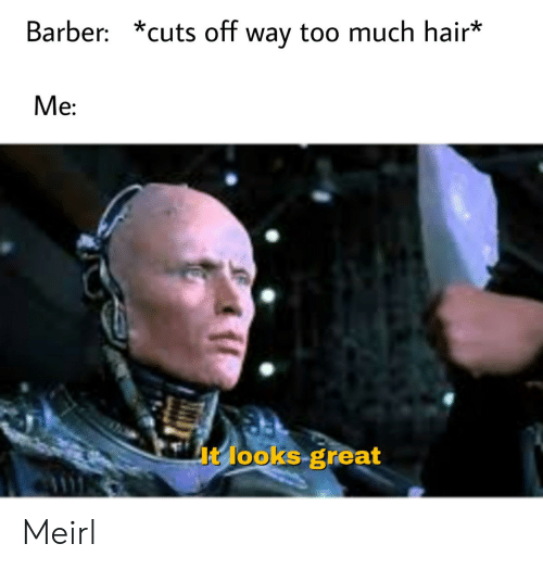 Barber, Too Much, and Hair: Barber: *cuts off way too much hair*  Me:  It looks great Meirl