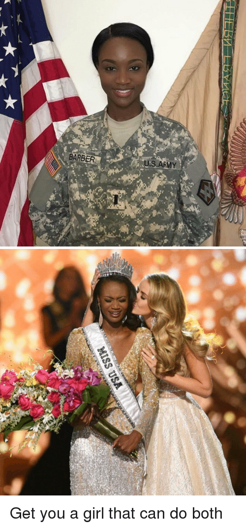 miss usa: BARBER  US ARMY   MISS USA Get you a girl that can do both