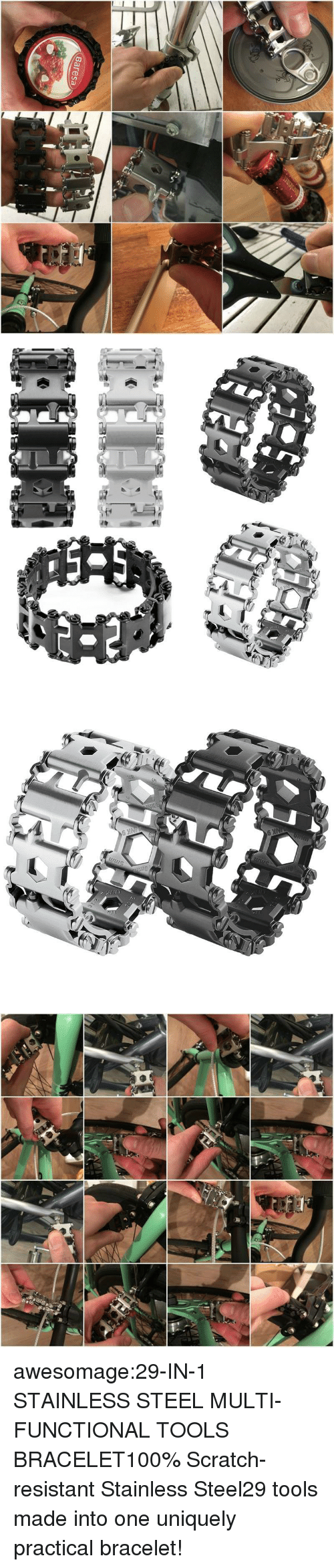 Anaconda, Tumblr, and Blog: Baresa awesomage:29-IN-1 STAINLESS STEEL MULTI-FUNCTIONAL TOOLS BRACELET100% Scratch-resistant Stainless Steel29 tools made into one uniquely practical bracelet!