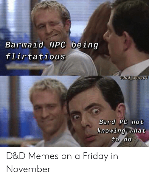 npc: Barmaid NPC being  flirtatious  @dnd memes1  Bard PC not  knowing what  to do D&D Memes on a Friday in November