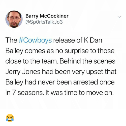 barry mccockiner the cowboys release of k dan bailey comes as no