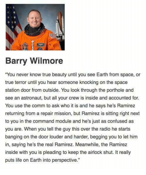 true beauty: Barry Wilmore  You never know true beauty until you see Earth from space, or  true terror until you hear someone knocking on the space  station door from outside. You look through the porthole and  see an astronaut, but all your crew is inside and accounted for  You use the comm to ask who it is and he says he's Ramirez  returning from a repair mission, but Ramirez is sitting right next  to you in the command module and he's just as confused as  you are. When you tell the guy this over the radio he starts  banging on the door louder and harder, begging you to let hinm  in, saying he's the real Ramirez. Meanwhile, the Ramirez  inside with you is pleading to keep the airlock shut. It really  puts life on Earth into perspective.""