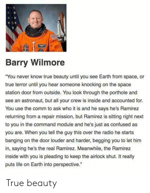 "true beauty: Barry Wilmore  You never know true beauty until you see Earth from space, or  true terror until you hear someone knocking on the space  station door from outside. You look through the porthole and  see an astronaut, but all your crew is inside and accounted for  You use the comm to ask who it is and he says he's Ramirez  returning from a repair mission, but Ramirez is sitting right next  to you in the command module and he's just as confused as  you are. When you tell the guy this over the radio he starts  banging on the door louder and harder, begging you to let hinm  in, saying he's the real Ramirez. Meanwhile, the Ramirez  inside with you is pleading to keep the airlock shut. It really  puts life on Earth into perspective."" True beauty"