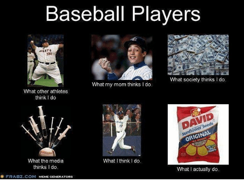 Baseball, Mlb, and Athletics: Baseball Players  What society thinks I do.  What my mom thinks l do.  What other athletes  think l do  ORIGINAL  What the media  What I think I do.  thinks Ido  What actually do.  FRABZ.COM  MEME GENERATORS