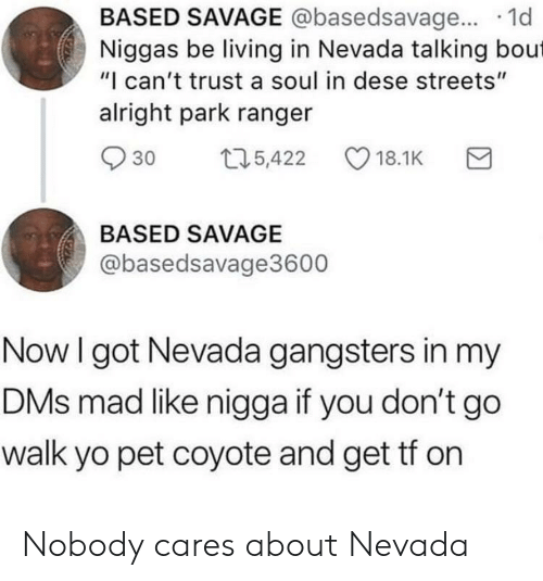 """Savage, Streets, and Yo: BASED SAVAGE @basedsavage... 1d  Niggas be living in Nevada talking bout  """"I can't trust a soul in dese streets""""  alright park ranger  30 t5,422 18.1K  BASED SAVAGE  @basedsavage3600  Now I got Nevada gangsters in my  DMs mad like nigga if you don't go  walk yo pet coyote and get tf on Nobody cares about Nevada"""