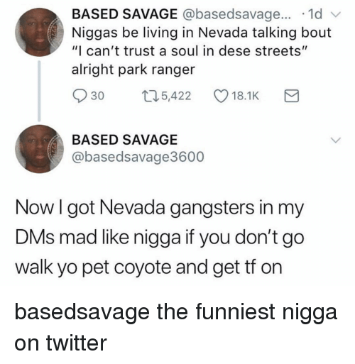 """gangsters: BASED SAVAGE @basedsavage... .1d v  Niggas be living in Nevada talking bout  """"I can't trust a soul in dese streets""""  alright park ranger  30 t5,422 18.1K  BASED SAVAGE  @basedsavage3600  Now l got Nevada gangsters in my  DMs mad like nigga it you don't gO  walk yo pet coyote and get tf on basedsavage the funniest nigga on twitter"""