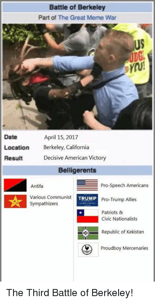 Great Meme: Battle of Berkeley  Part of The Great Meme War  US  Date  Location Bekley, California  Result  April 15, 2017  Decisive American Victory  Belligerents  Antifa  Various Communist  Sympathizers  Pro-Speech Americans  Pro-Trump Allies  Patriots &  TRUMP  Civic Nationalists  Republic of Kekistan  Prou  Proudboy Mercenaries The Third Battle of Berkeley!