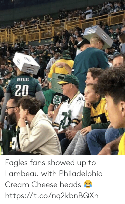 Philadelphia Eagles, Football, and Nfl: BAWKINS  20  D Eagles fans showed up to Lambeau with Philadelphia Cream Cheese heads ? https://t.co/nq2kbnBQXn