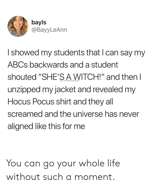 "Life, Hocus Pocus, and Never: bayls  @BayyLeAnn  I showed my students that l can say my  ABCs backwards and a student  shouted ""SHE'SAWITCH!"" and then l  unzipped my jacket and revealed my  Hocus Pocus shirt and they all  screamed and the universe has never  aligned like this for me You can go your whole life without such a moment."
