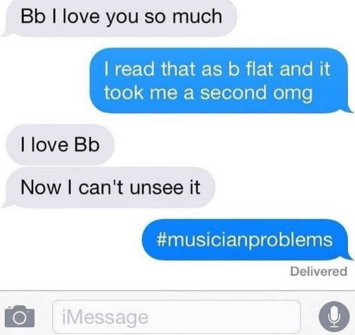 Love, Omg, and I Love You: Bb I love you so much  I read that asb flat and it  took me a second omg  I love Bb  Now I can't unsee it  #musicianproblems  Delivered  iMessage