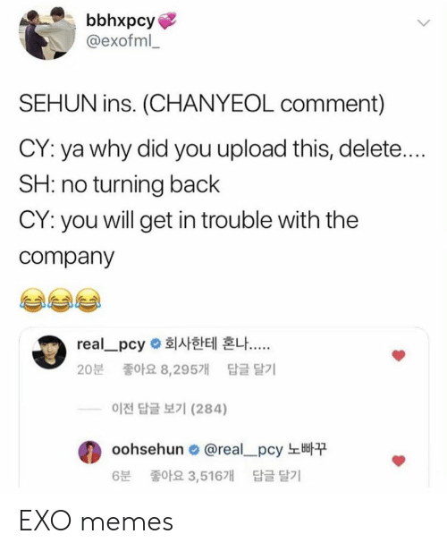 Memes, Exo, and Back: bbhxpcy  @exofml  SEHUN ins. (CHANYEOL comment)  CY: ya why did you upload this, delete....  SH: no turning back  CY: you will get in trouble with the  company  real-pcy 회사한테 혼나  20분 좋아요 8,295개 답글달기  이전 답글 보기 (284)  oohsehun. @real-pcy 노빠꾸  6분 좋아요 3,516개 답글 달기 EXO memes