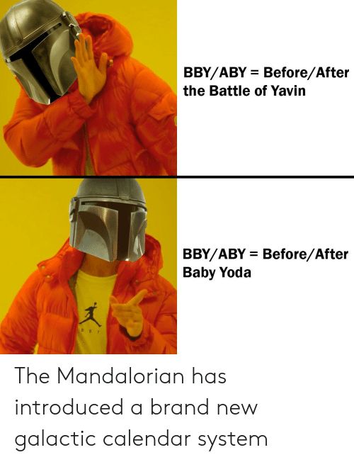 Yoda, Calendar, and Baby: BBY/ABY Before/After  the Battle of Yavin  BBY/ABY Before/After  Baby Yoda  B BY The Mandalorian has introduced a brand new galactic calendar system