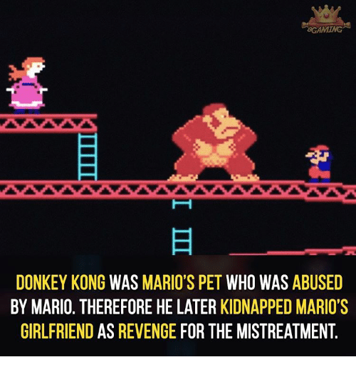 donkeys: BCAMMING  DONKEY KONG  WAS  MARIO'S PET  WHO WAS  ABUSED  BY MARIO. THEREFORE HE LATER KIDNAPPED MARIO'S  GIRLFRIEND AS REVENGE  FOR THE MISTREATMENT.