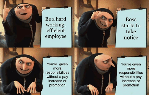 Working, Boss, and Promotion: Be a hard  working,  efficient  employee  Boss  starts to  take  notice  You're given  more  responsibilities  without a pay  increase or  promotion  You're given  more  responsibilities  without a pay  increase or  promotion
