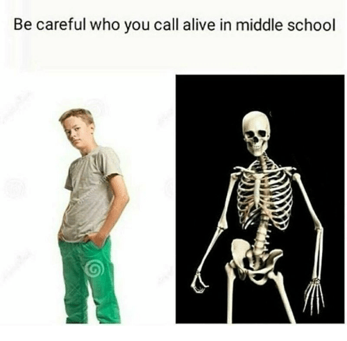 Alive, School, and Be Careful: Be careful who you call alive in middle school