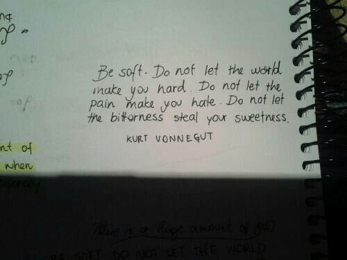 Kurt Vonnegut, Pain, and Make: Be soft. Do nof let th wond  mate you hard. Do nof let the  pain make you hale Do not let  the biforness steal your sweetness  y?  wst  KURT VONNEGUT  어  when