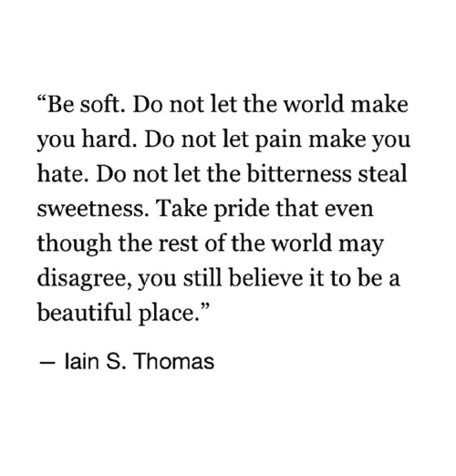 "A Beautiful Place: ""Be soft. Do not let the world make  you hard. Do not let pain make you  hate. Do not let the bitterness steal  sweetness. Take pride that even  though the rest of the world may  disagree, you still believe it to be a  beautiful place.""  - lain S. Thomas"