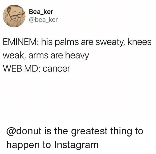 Eminem, Instagram, and Cancer: Bea ker  @bea_ker  EMINEM: his palms are sweaty, knees  weak, arms are heavy  WEB MD: cancer @donut is the greatest thing to happen to Instagram