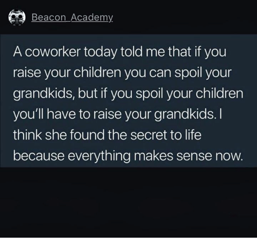 Children, Life, and Academy: Beacon Academy  A coworker today told me that if you  raise your children you can spoil your  grandkids, but if you spoil your children  you'll have to raise your grandkids.I  think she found the secret to life  because everything makes sense now.