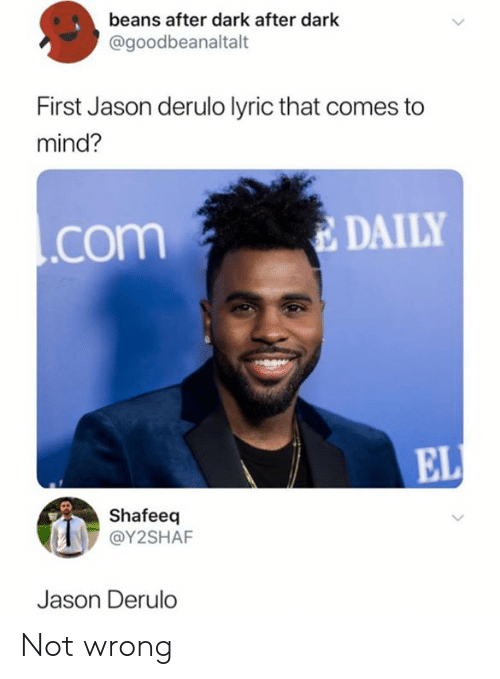 Dank, Jason Derulo, and Mind: beans after dark after dark  @goodbeanaltalt  First Jason derulo lyric that comes  mind?  DAILY  .com  EL  Shafeeq  @Y2SHAF  Jason Derulo Not wrong