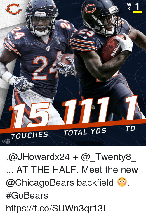 halfs: BEARS  TD  TOUCHES TOTAL YDS .@JHowardx24 + @_Twenty8_ ... AT THE HALF.  Meet the new @ChicagoBears backfield 😳. #GoBears https://t.co/SUWn3qr13i