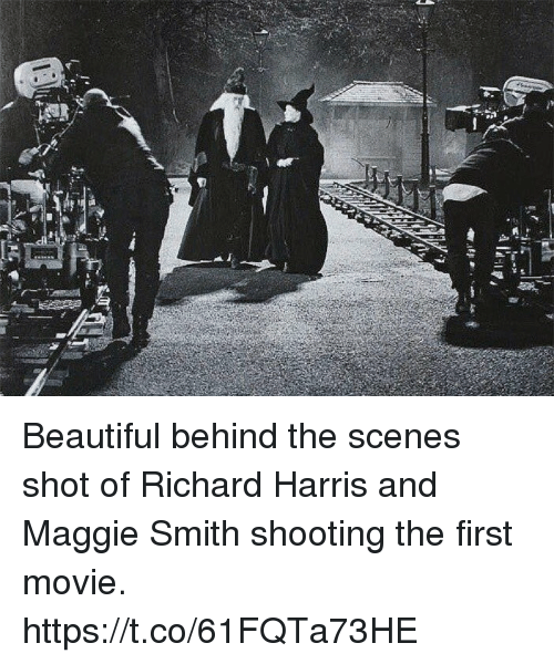 Beautiful, Memes, and Movie: Beautiful behind the scenes shot of Richard Harris and Maggie Smith shooting the first movie. https://t.co/61FQTa73HE