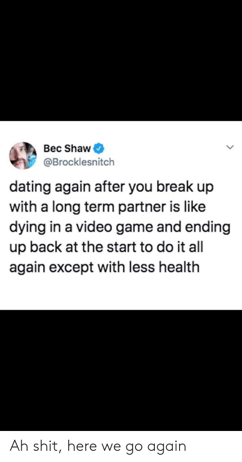 Dating, Shit, and Break: Bec Shaw  @Brocklesnitch  dating again after you break up  with a long term partner is like  dying in a video game and ending  up back at the start to do it all  again except with less health Ah shit, here we go again