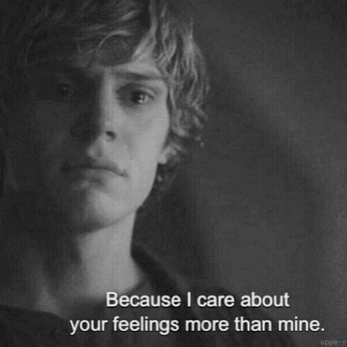 Mine, More, and Because: Because I care about  your feelings more than mine  uppe-r