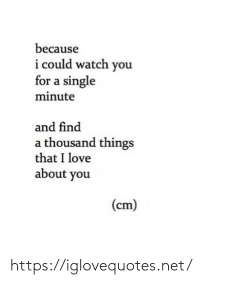 I Could: because  i could watch you  for a single  minute  and find  a thousand things  that I love  about you  (cm) https://iglovequotes.net/