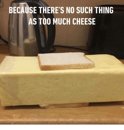 Memes, Too Much, and 🤖: BECAUSE THERE'S NO SUCH THING  AS TOO MUCH CHEESE