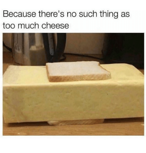 Too Much, Cheese, and Thing: Because there's no such thing as  too much cheese