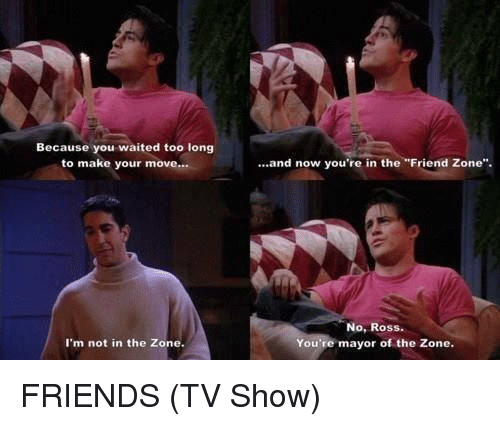 """Friends (TV show): Because you waited too long  to make your move...  I'm not in the Zone.  and now you're in the """"Friend Zone"""".  No, Ross.  You're mayor of the Zone. FRIENDS (TV Show)"""