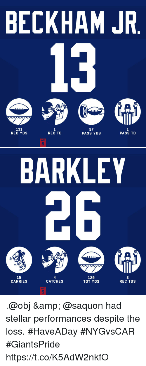 Memes, 🤖, and Rec: BECKHAM JR  131  REC YDS  1  REC TD  57  PASS YDS  1  PASS TD  WK  5   BARKLEY  15  CARRIES  4  CATCHES  129  TOT YDS  2  REC TDS  WK  5 .@obj & @saquon had stellar performances despite the loss. #HaveADay #NYGvsCAR  #GiantsPride https://t.co/K5AdW2nkfO