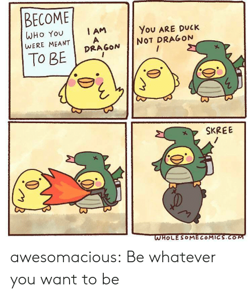 Tumblr, Blog, and Duck: BECOME  I AM  WHO You  You ARE DUCK  WERE MEANT  NOT DRAGON  DRAGON  To BE  SKREE  WHOLESOMECOMICS.COM awesomacious:  Be whatever you want to be