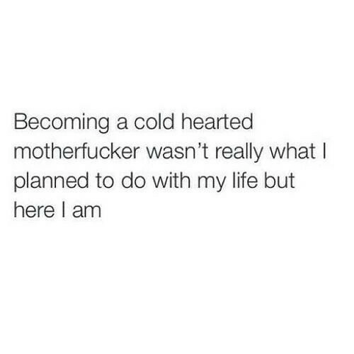 here i am: Becoming a cold hearted  motherfucker wasn't really what I  planned to do with my life but  here I am