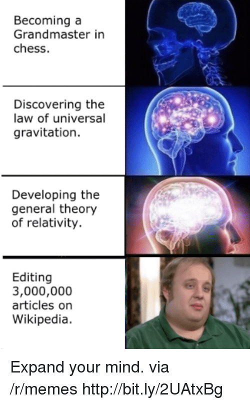 Memes, Wikipedia, and Chess: Becoming a  Grandmaster in  chess.  Discovering the  law of universal  gravitation.  Developing the  general theory  of relativity.  Editing  3,000,000  articles on  Wikipedia. Expand your mind. via /r/memes http://bit.ly/2UAtxBg