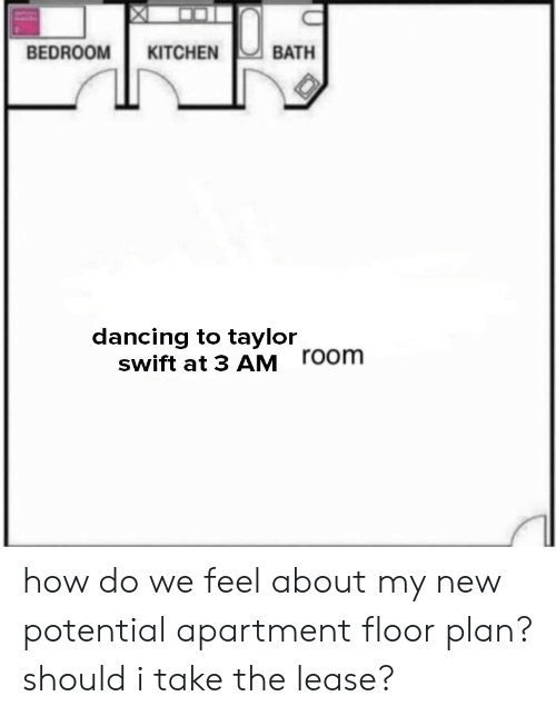 Taylor Swift: BEDROOM KITCHEN  BATH  dancing to taylor  swift at 3 AM  room how do we feel about my new potential apartment floor plan? should i take the lease?